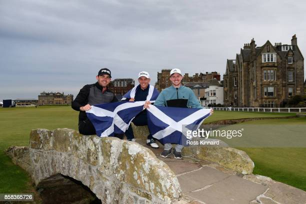 Liam Johnston Grant Forrest and Connor Syme pose for a photo on the Swilken Bridge during day two of the 2017 Alfred Dunhill Championship at The Old...