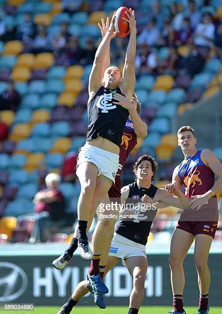 Liam Jones of Carlton takes a mark during the round 21 AFL match between the Brisbane Lions and the Carlton Blues at The Gabba on August 13 2016 in...