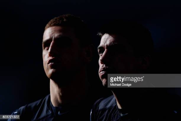 Liam Jones of the Blues and Matthew Kreuzer compete for the ball during a Carlton Blues AFL training session at Visy Park on July 28 2017 in...