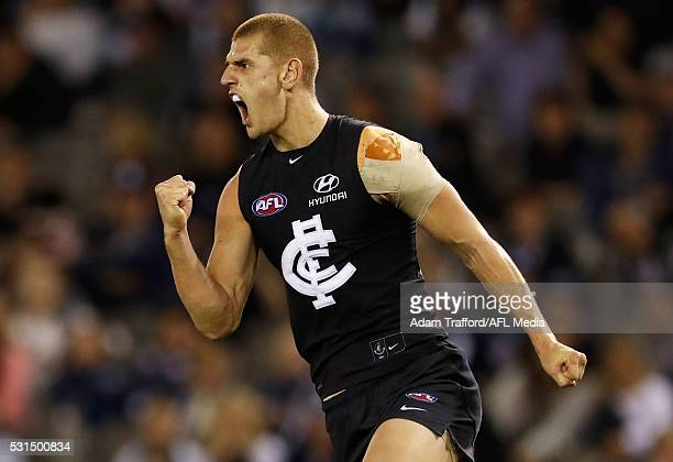 Liam Jones of the Blues celebrates a goal during the 2016 AFL Round 08 match between the Carlton Blues and Port Adelaide Power at Etihad Stadium...