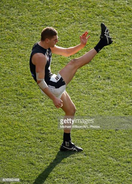 Liam Jones of the Blues kicks the ball during the 2017 AFL round 20 match between the Essendon Bombers and the Carlton Blues at the Melbourne Cricket...