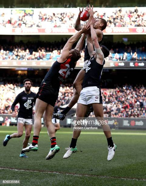 Liam Jones of the Blues takes a mark during the round 20 AFL match between the Essendon Bombers and the Carlton Blues at Melbourne Cricket Ground on...