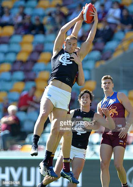 Liam Jones of the Blues takes a mark during the round 21 AFL match between the Brisbane Lions and the Carlton Blues at The Gabba on August 13 2016 in...