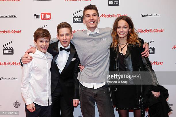 Liam Karven Justuus Kiwit Christopher Karven and Melanie Kieback attend the 99FireFilmAward 2016 at Admiralspalast on February 18 2016 in Berlin...
