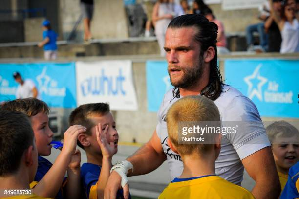 Liam Kay of Toronto Wolfpack reacts during Super 8s Round 7 game between Toronto Wolfpack vs Doncaster RLFC at Allan A Lamport Stadium in Toronto...