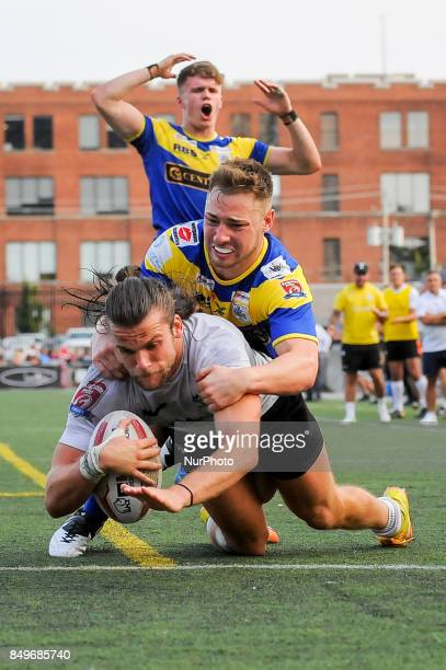 Liam Kay of Toronto Wolfpack scored tries during Super 8s Round 7 game between Toronto Wolfpack vs Doncaster RLFC at Allan A Lamport Stadium in...