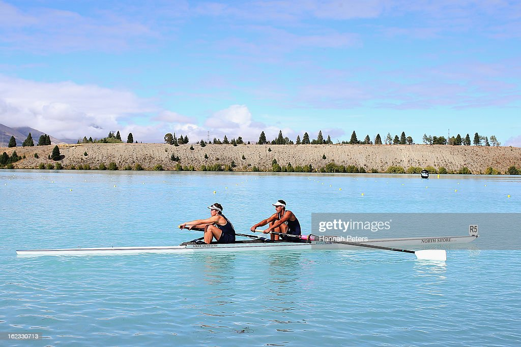 Liam Kettle and Michael Brake of North Shore compete in the Men's Senior 2- final during the New Zealand Rowing Championships at Lake Ruataniwha on February 22, 2013 in Twizel, New Zealand.