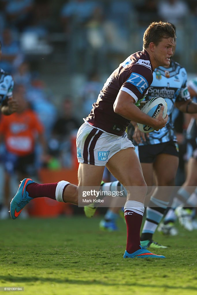 Liam Knight of the Eagles runs the ball during the NRL Trial match between the Cronulla Sharks and the Manly Sea Eagles at Remondis Stadium on February 14, 2016 in Sydney, Australia.