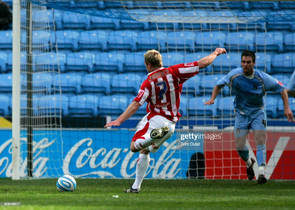 Liam Lawrence of Stoke City scors his sides second goal during the Coca Cola Championship match between Coventry City v Stoke City at the Ricoh Arena...