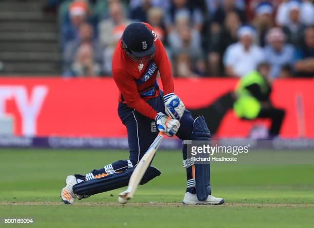Liam Livingstone of England breaks hits bat on a yorker during the 2nd NatWest T20 International match between England and South Africa at The Cooper...