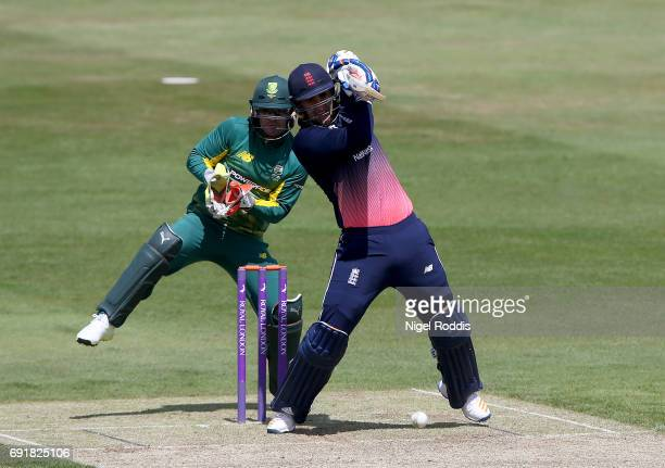 Liam Livingstone of England Lions hits out during the One Day International match between England Lions and South Africa A at The County Ground on...
