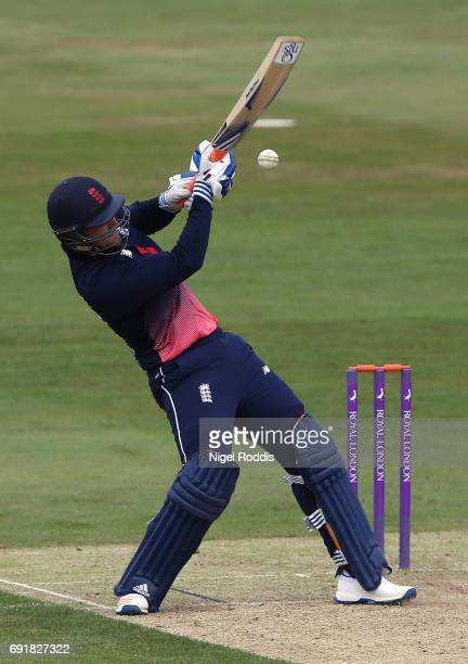 Liam Livingstone of England Lions hits out during the One Day International match between England Lions and SouthAfrica A at The County Ground on...