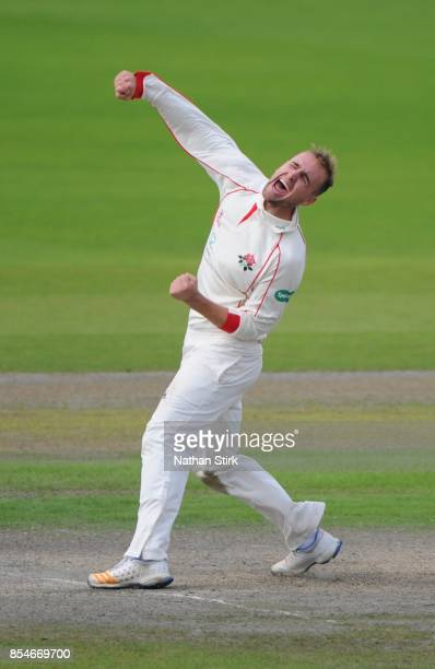 Liam Livingstone of Lancashire celebrates after getting 5 wickets during the County Championship Division One match between Lancashire and Surrey at...