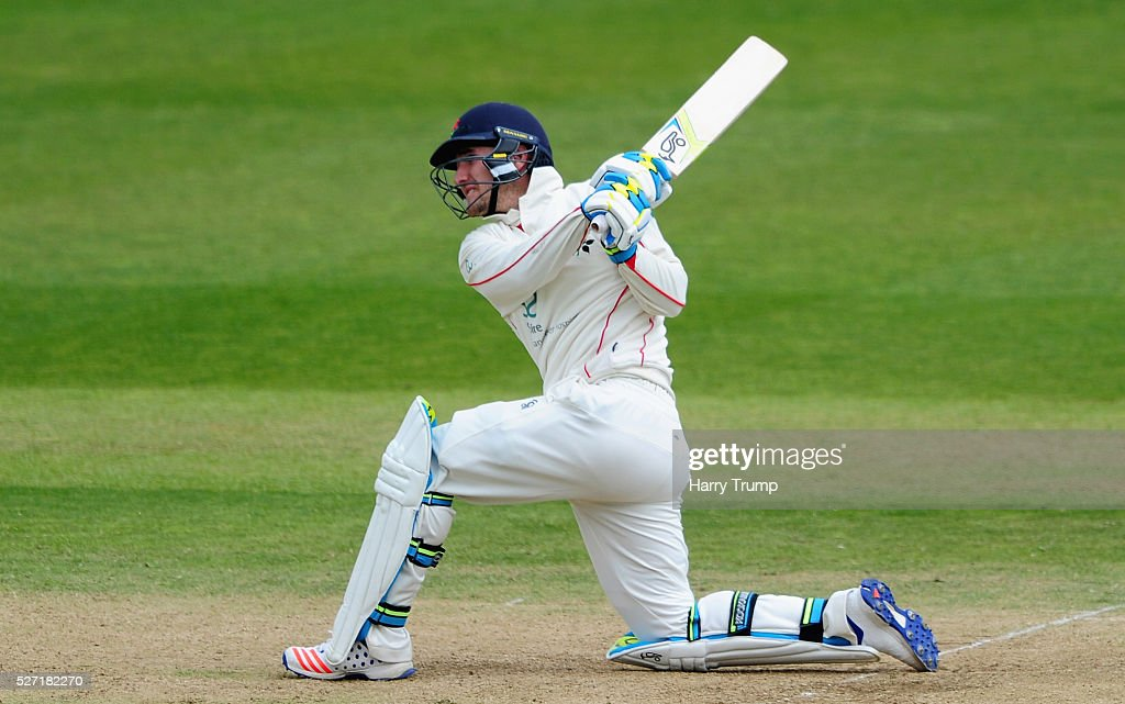 Liam Livingstone of Lancashire hits out during Day Two of the Specsavers County Championship Division One match between Somerset and Lancashire at the County Ground on May 02, 2016 in Taunton, United Kingdom.