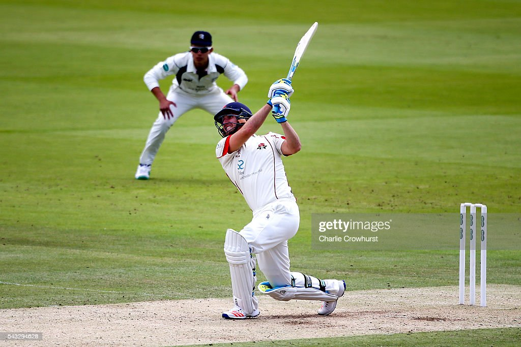 Liam Livingstone of Lancashire hits out during day two of the Specsavers County Championship division one match between Midlesex and Lancashire at Lords on June 27, 2016 in London, England.
