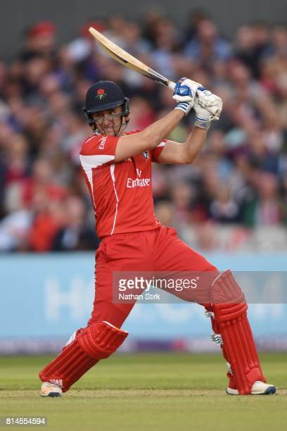 Liam Livingstone of Lancashire Lightning batting during the NatWest T20 Blast match against Lancashire Lightning and Yorkshire Vikings at Old...