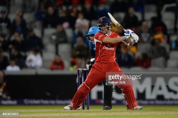 Liam Livingstone of Lancashire Lightning batting during the NatWest T20 Blast match between Lancashire Lightning and Worcestershire Rapids at Old...