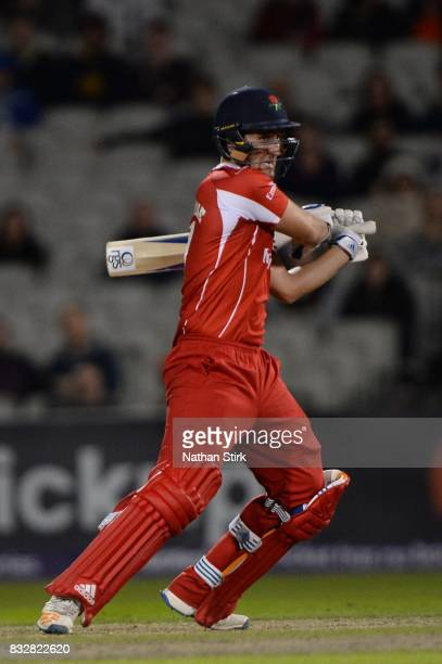 Liam Livingstone of Lancashire Lightning in action during the NatWest T20 Blast match between Lancashire Lightning and Worcestershire Rapids at Old...