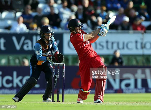 Liam Livingstone of Lancashire Lightning plays a shot during the NatWest T20 Blast between Derbyshire Falcons and Lancashire Lightning at The 3aaa...