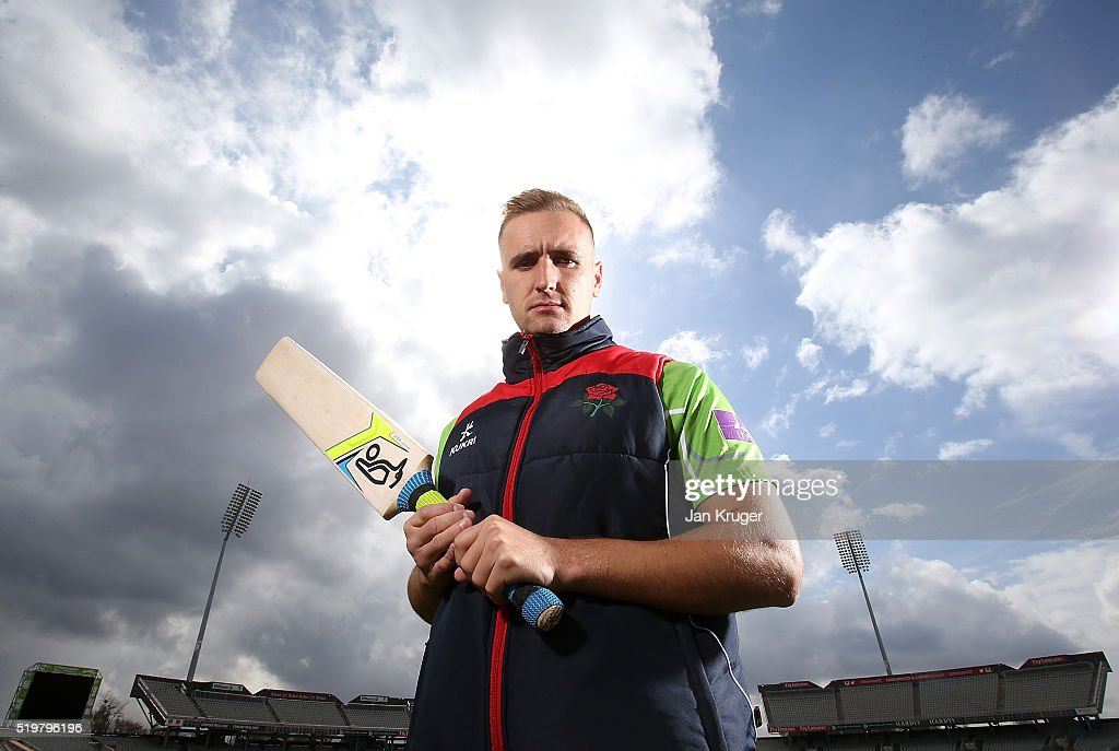 Liam Livingstone poses during Lancashire CCC photocall at Old Trafford on April 8 2016 in Manchester England