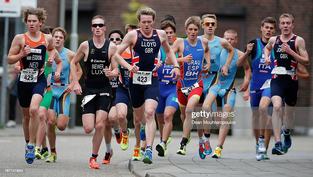 Liam Lloyd (#423) of Great Britain and Jorik Van Egdom (#429) of Netherlands lead the Junior Mens Long Distance race during the 2013 Horst ETU Powerman Long Distance and Sprint Duathlon European Championships on April 21, 2013 in Horst, Netherlands.