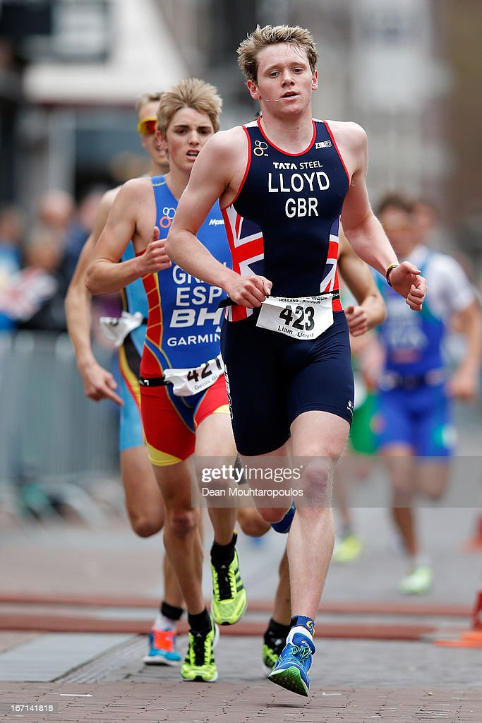 Liam Lloyd of Great Britain competes in the Junior Mens Long Distance race during the 2013 Horst ETU Powerman Long Distance and Sprint Duathlon European Championships on April 21, 2013 in Horst, Netherlands.