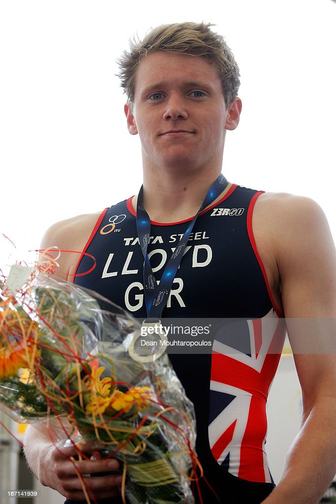 Liam Lloyd of Great Britain poses with his silver medal in the Junior Mens Long Distance race during the 2013 Horst ETU Powerman Long Distance and Sprint Duathlon European Championships on April 21, 2013 in Horst, Netherlands.