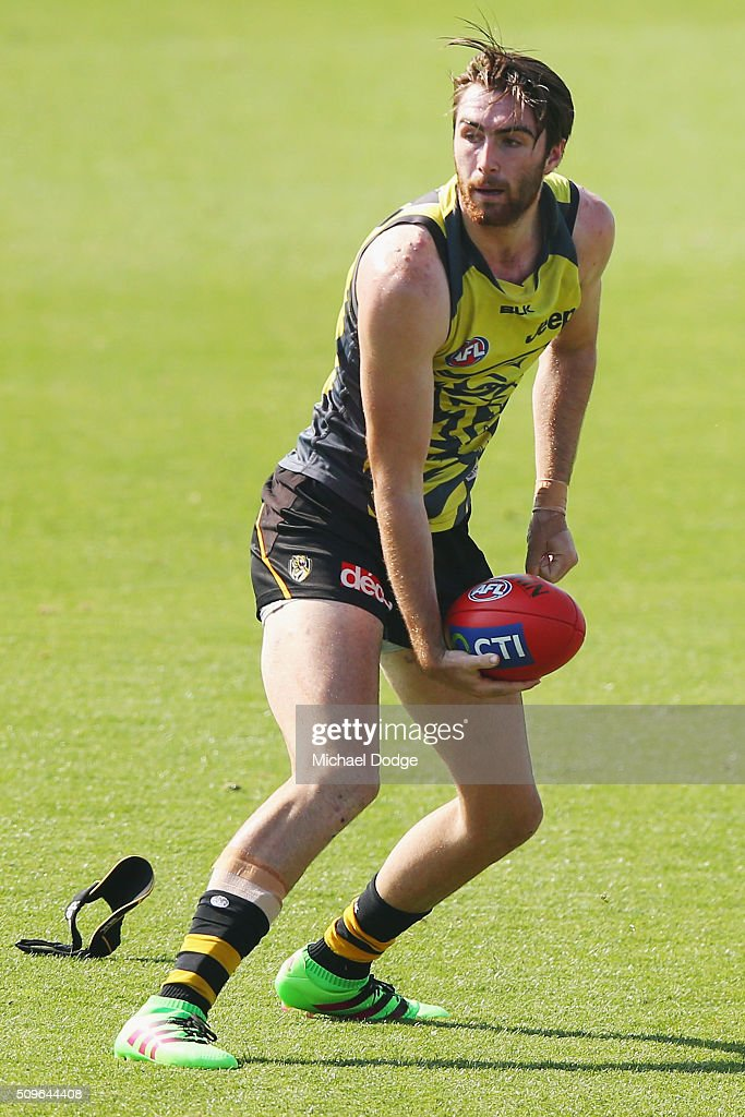 Liam McBean of the Tigers looks upfield during the Richmond Tigers AFL intra-club match at Punt Road Oval on February 12, 2016 in Melbourne, Australia.
