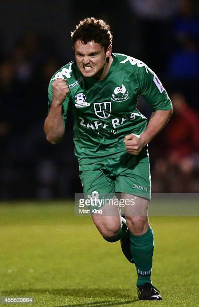 Liam Mccormick of Bentleigh celebrates scoring a penalty during the FFA Cup match between Sydney Olympic and the Bentleigh Greens at the Lambert Park...