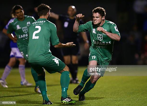 Liam Mccormick of Bentleigh celebrates with Thomas Matthew after scoring a penalty during the FFA Cup match between Sydney Olympic and the Bentleigh...