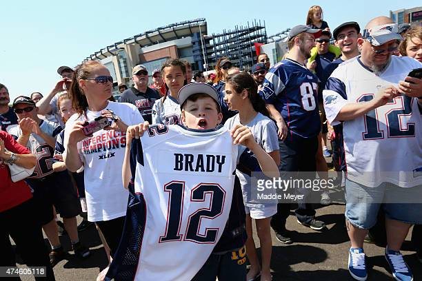 Liam McIntyre 12 of West Roxbury MA shows his support for New England Patriots quarterback Tom Brady at the 'Free Tom Brady' rally at Gillette...