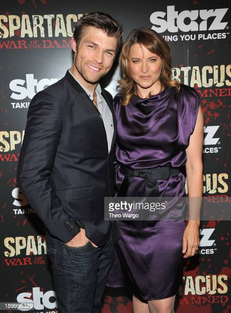 Liam McIntyre and Lucy Lawless attend 'Spartacus War Of The Damned' Series Finale Premiere at MOMA on January 24 2013 in New York City