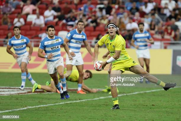 Liam McNamara of Australia in action during the 2017 Singapore Sevens match between Australia and Argentina at National Stadium on April 15 2017 in...