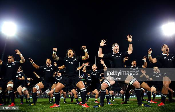 Liam Messam Ma'a Nonu Kieran Read and Israel Dagg of the All Blacks perform the haka during the International Test match between the New Zealand All...