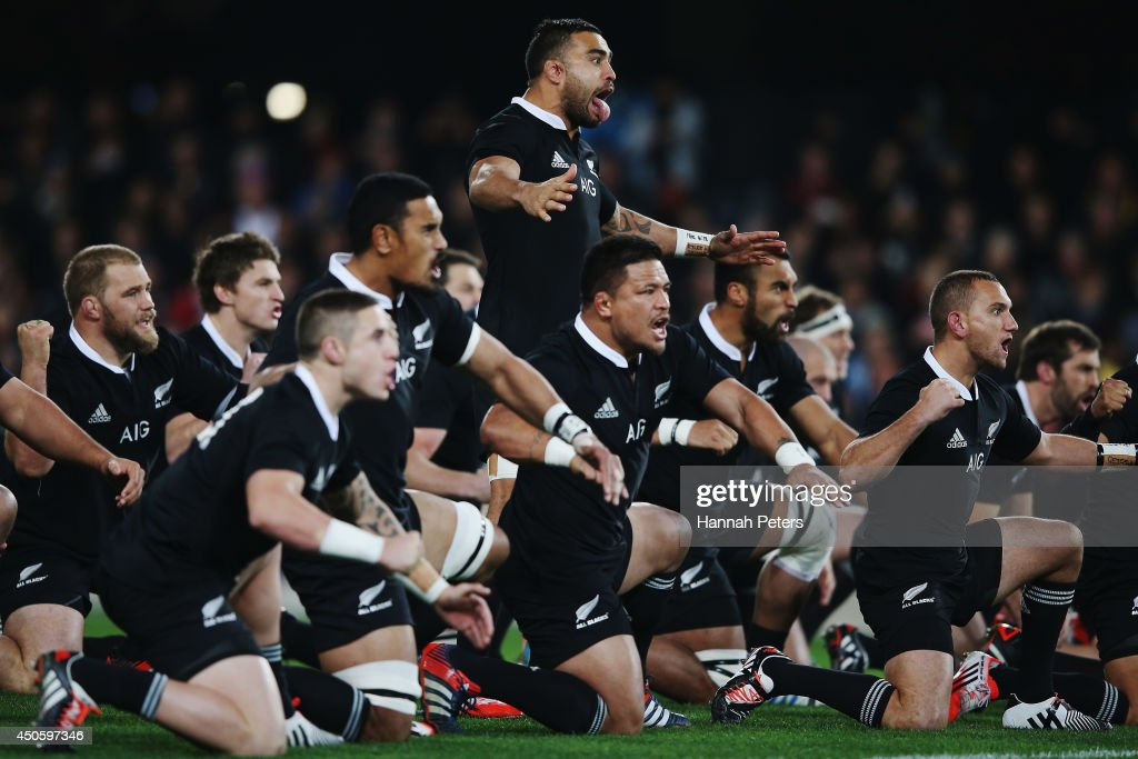 Liam Messam of the All Blacks leads the haka prior to the International Test Match between the New Zealand All Blacks and England at Forsyth Barr Stadium on June 14, 2014 in Dunedin, New Zealand.