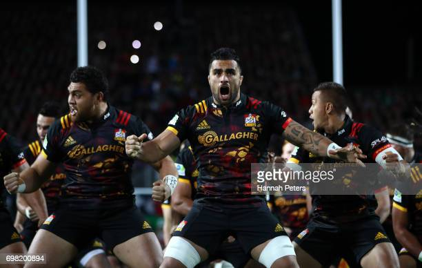 Liam Messam of the Chiefs and teammates perform the Haka prior to kickoff during the 2017 British Irish Lions tour match between the Chiefs and the...