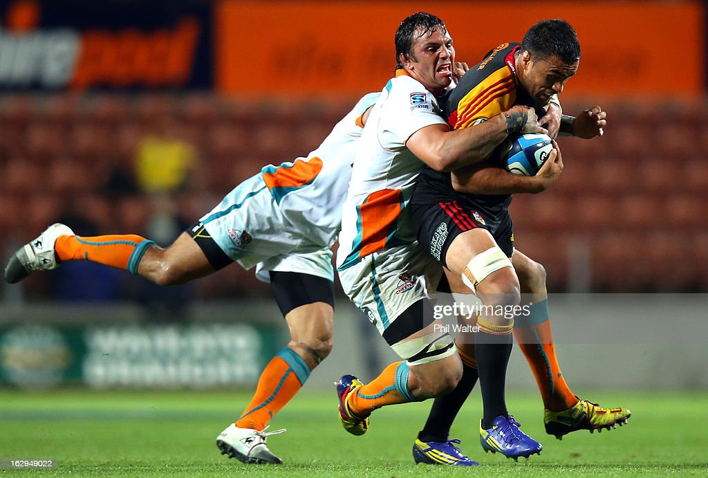 <a gi-track='captionPersonalityLinkClicked' href=/galleries/search?phrase=Liam+Messam&family=editorial&specificpeople=601526 ng-click='$event.stopPropagation()'>Liam Messam</a> of the Chiefs is tackled during the round three Super Rugby match between the Chiefs and the Cheetahs at Waikato Stadium on March 2, 2013 in Hamilton, New Zealand.