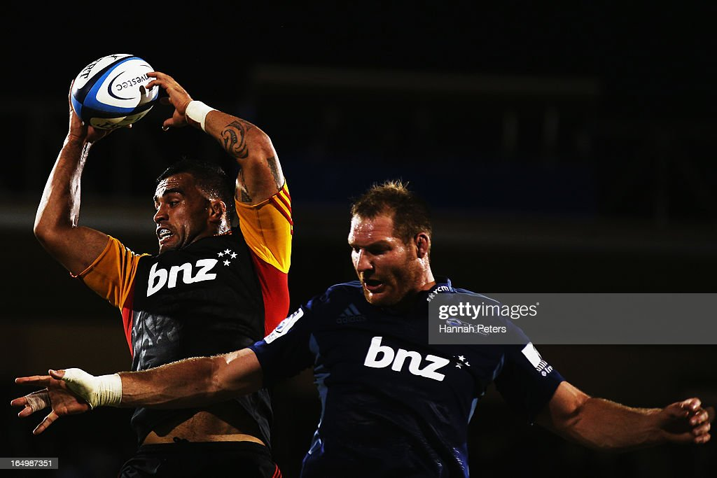 <a gi-track='captionPersonalityLinkClicked' href=/galleries/search?phrase=Liam+Messam&family=editorial&specificpeople=601526 ng-click='$event.stopPropagation()'>Liam Messam</a> of the Chiefs wins lineout ball against Ali Williams of the Blues during the round seven Super Rugby match between the Chiefs and the Blues at Bay Park on March 30, 2013 in Tauranga, New Zealand.