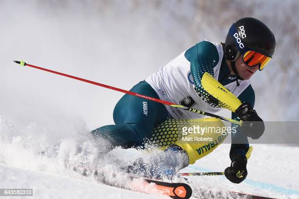 Liam Michael of Australia competes in the men's alpine skiing giant slalom on day five of the 2017 Sapporo Asian Winter Games at Sapporo Teine on...