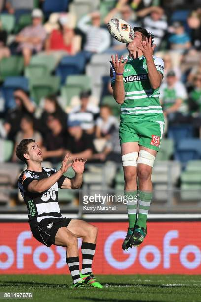 Liam Mitchell of Manawatu takes a high ball during the round nine Mitre 10 Cup match between Hawke's Bay and Manawatu at McLean Park on October 15...