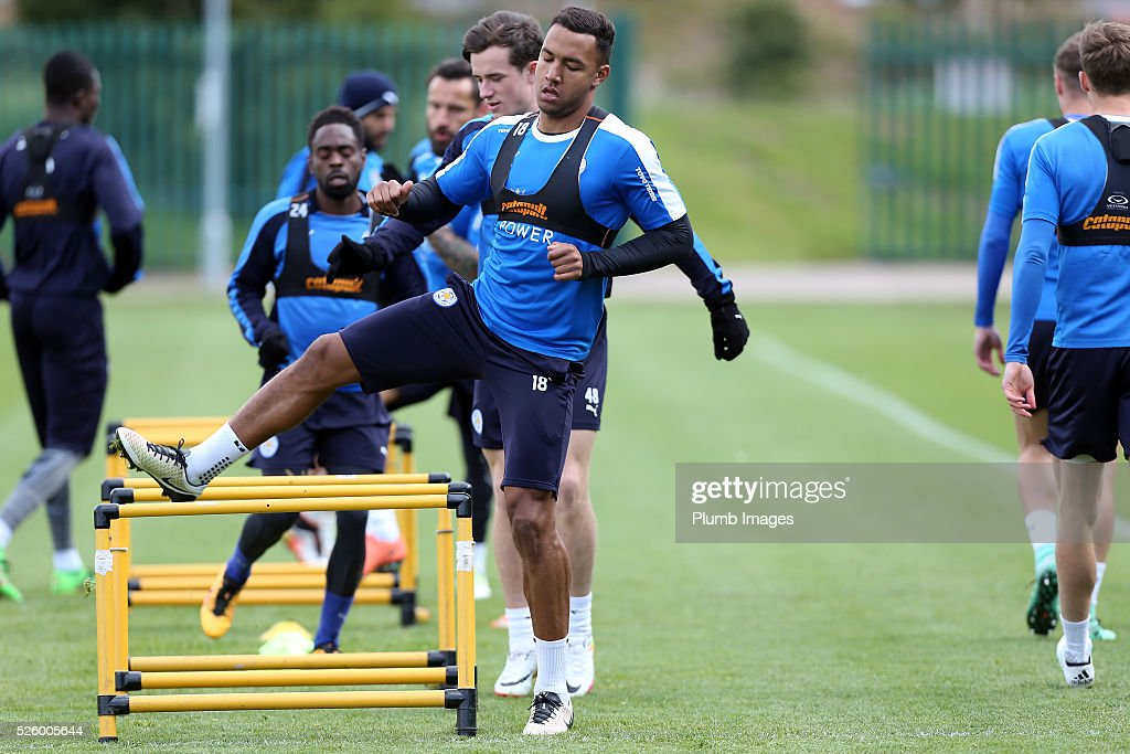 Liam Moore during the Leicester City training session at Belvoir Drive Training Complex on April 29, 2016 in Leicester, United Kingdom.