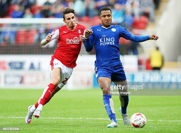 Liam Moore of Leicester City in action with Matt Derbyshire of Rotherham United during the preseason friendly between Rotherham and Leicester City at...