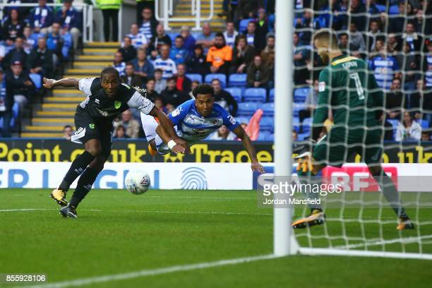 Liam Moore of Reading scores his sides first goal during the Sky Bet Championship match between Reading and Norwich City at Madejski Stadium on...