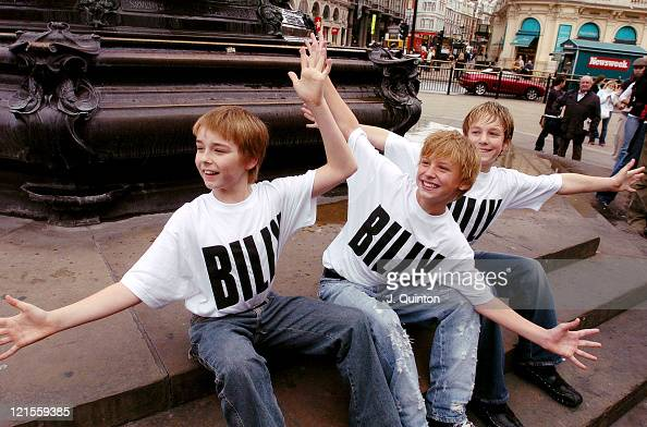 Liam Mower George McGuire James Lomas during 'Billy Elliot' The Musical Photocall at Criterion Theatre in London Great Britain