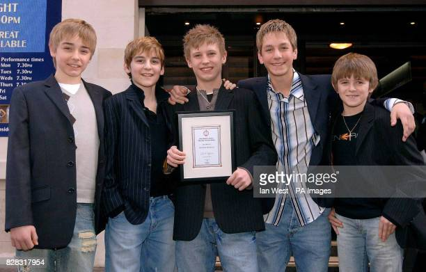 Liam Mower Leon Cooke George Maguire James Lomas and Travis Yates who all star as Billy Elliot Billy Elliot won the Best Musical Award at the Critics...