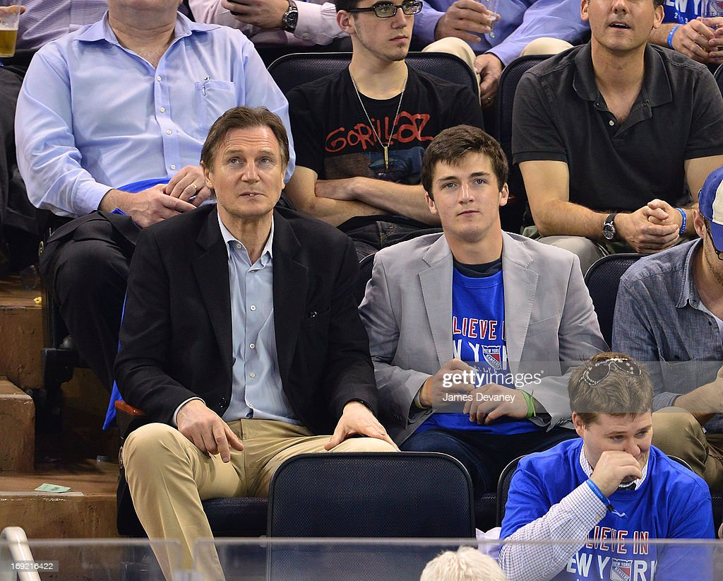 <a gi-track='captionPersonalityLinkClicked' href=/galleries/search?phrase=Liam+Neeson&family=editorial&specificpeople=202030 ng-click='$event.stopPropagation()'>Liam Neeson</a> and Daniel Neeson attend the Boston Bruins Vs New York Rangers game at Madison Square Garden on May 21, 2013 in New York City.