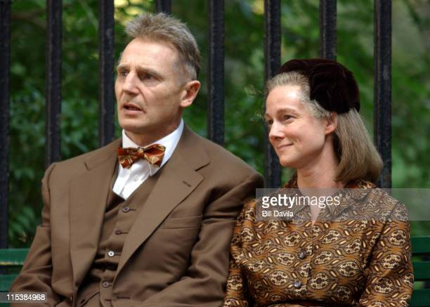 Liam Neeson and Laura Linney during 'Kinsey' Movie Set in New York City August 19 2003 at Gramercy Park in New York City New York United States