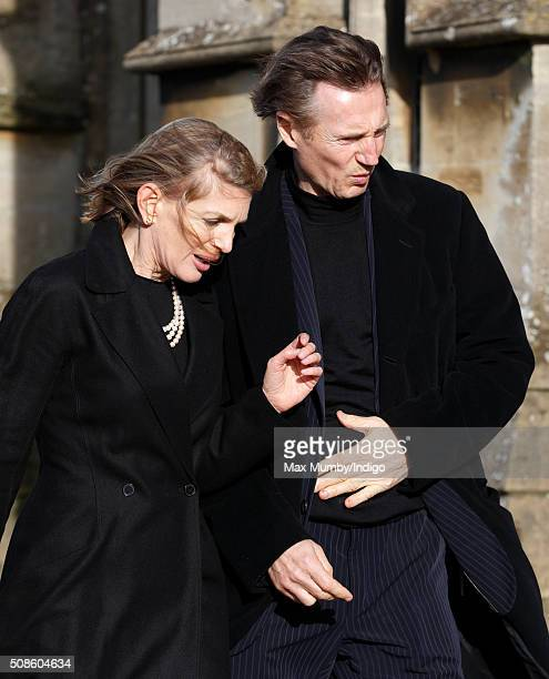 Liam Neeson attends a memorial service for Miles Frost at Arundel Cathedral on February 5 2016 in Arundel England Miles Frost son of the late Sir...