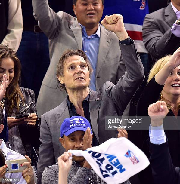 Liam Neeson attends the Washington Capitals vs New York Rangers game at Madison Square Garden on May 13 2015 in New York City