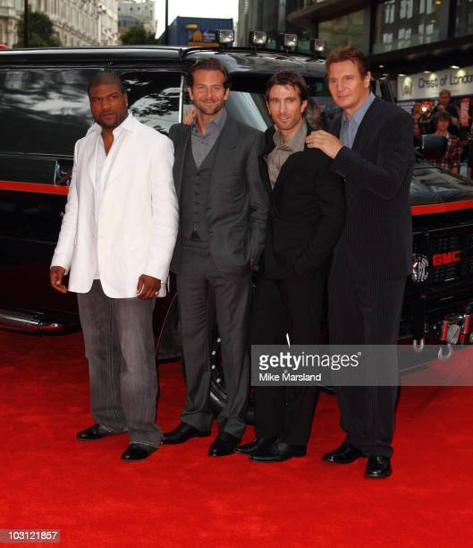 Liam Neeson Bradley Cooper Sharlto Copley and Quinton Jackson attend the UK Film Premiere of 'The ATeam' at Empire Leicester Square on July 27 2010...